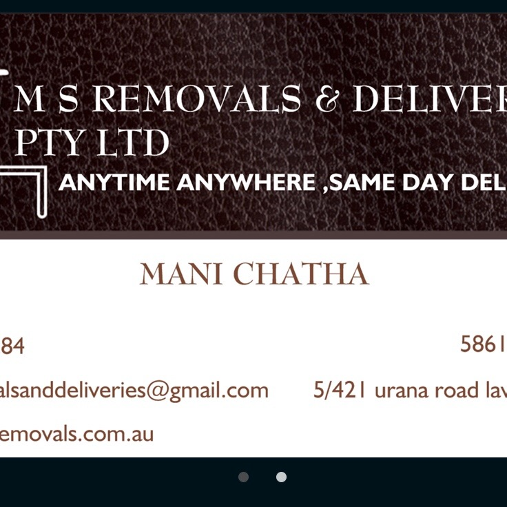 M S removals and deliveries pty ltd